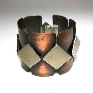Rebajes Jewelry - Mid Century Rebajes Copper Wide Geometric Bracelet